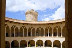 Castle de Bellver in Majorca at Palma of Mallorca. Bellver Castle Castillo cloister corridor in Majorca at Palma de Mallorca Balearic Islands Stock Image
