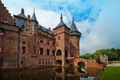 Castle de Haar στις Κάτω Χώρες το καλοκαίρι κοντά στην πόλη της Ουτρέχτης Στοκ φωτογραφία με δικαίωμα ελεύθερης χρήσης