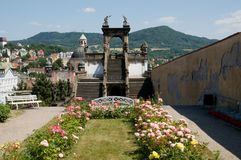 Castle Decin, Czech republic. Roses garden in castle Decin, Czech republic Stock Images