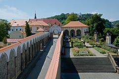 Castle Decin, Czech republic. Roses garden in castle Decin, Czech republic royalty free stock photo