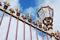Castle decorative grille fence with lantern Stock Images