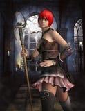 Castle defender. 3D illustration of a female warrior in a castle Stock Image