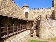 Castle and defensive walls of historic fort Royalty Free Stock Images