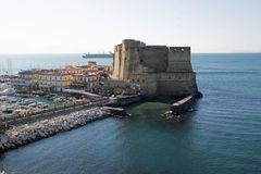 Castle Dell `Ovo. Castel dell`Ovo in Italian, Egg Castle is a seaside castle in Naples, located on the former island of Megaride, now a peninsula, on the Gulf of Stock Photography