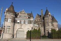A Castle in Detroit, Michigan. A picture an old police precinct in Detroit Michigan which resembles an old Medieval/ Renaissance Castle with a view of its towers stock image