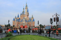 Castle at Disney World in shanghai. Castle at Disney World Magic Kingdom in shanghai, China during a sunny day Stock Image