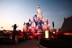 Castle at Disney World in shanghai at night Royalty Free Stock Photography