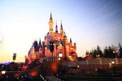 Castle at Disney World in shanghai at night Stock Photo