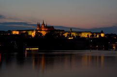 Castle District In Prague At Night Stock Images