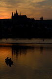 Castle district in prague and fishing boat Stock Image
