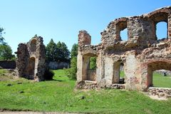 Castle Dobele. Livonian Order medieval castle ruins stock photography