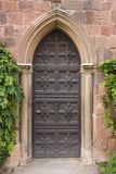 Castle door. Ornate wooden door on Shrewsbury Castle royalty free stock photos