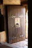 Castle door. Old wooden castle door open Stock Images