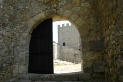 Castle Door. Castle of Sesimbra, southern Portugal,E.U Stock Photos