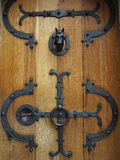 Castle door wrought-iron fittings Royalty Free Stock Photo