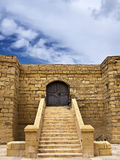 Castle Doorway. Medieval castle or fortress with highly eroded walls in the island of Gozo Stock Photography