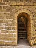 Castle Doorway. Arched doorway leading to steps to Citadel battery roof in Gozo Royalty Free Stock Image