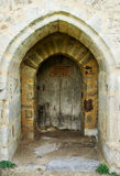 Castle doorway. An ancient doorway gives access to a medieval French castle royalty free stock photo