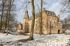 Castle doorwerth in the netherlands in winter on sunny day Stock Images