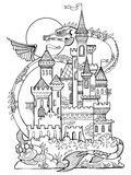 Castle and dragon coloring book vector Royalty Free Stock Image