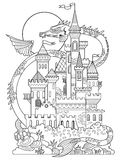 Castle and dragon coloring book vector Royalty Free Stock Images