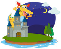 Castle and dragon on the island Stock Photos