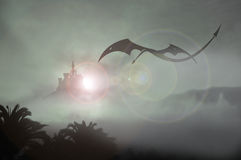 Castle dragon return Royalty Free Stock Image