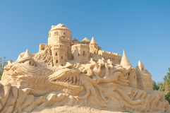 The castle on the dragon's back. 2nd sand statues festival in Bourgas, Bulgaria - 2009 royalty free stock images