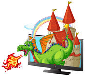 Castle and dragon on the screen Stock Photography