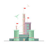 Castle of Dragonlord. Fantasy castle of dragonlord. Flat style illustration. Can be used in books, game background, web design, etc Stock Image
