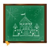 Castle drawing on blackboard art Royalty Free Stock Image