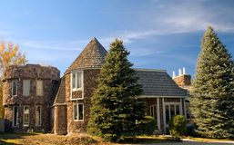 Castle dream home. Two-story upper class luxury dream home, built like a castle Stock Photos