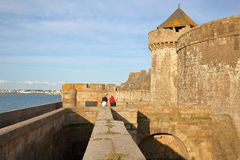 The Castle of Duchess Anne viewed from the ramparts of Saint Malo, located around the walled city royalty free stock images