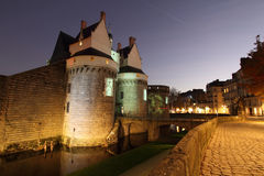 Castle of the Dukes of Brittany (Nantes - France). Castle of the Dukes of Brittany (Château des ducs de Bretagne) by night in Nantes, France Royalty Free Stock Images