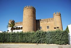 Castle of the Dukes of Feria, Zafra, province of Badajoz, Spain. The famous Castle of the Dukes of Feria is now a luxury hotel National Parador in Zafra, town of royalty free stock photo