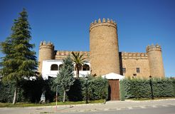 Castle of the Dukes of Feria, Zafra, province of Badajoz, Spain. The famous Castle of the Dukes of Feria is now a luxury hotel National Parador in Zafra, town of stock photography