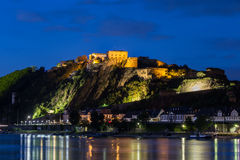 Castle ehrenbreitstein and the rhein river at koblenz germany in Stock Image