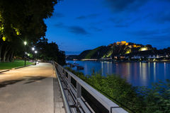 Castle ehrenbreitstein and the rhein river at koblenz germany in Royalty Free Stock Photo