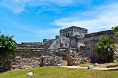 The Castle, El Castillo, Tulum). El Castillo Mayan ruins in Tulum Mexico Royalty Free Stock Photos