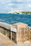 The castle of El Morro and Malecon wall in Havana Stock Photography