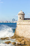 The castle of  El Morro and the skyline of Havana Royalty Free Stock Photos