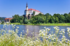 Castle and Elbe river, Decin town, Czech republic Royalty Free Stock Photo