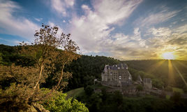 Castle Eltz by sunset. The castle Eltz located in Wierschem,Germany Royalty Free Stock Photography