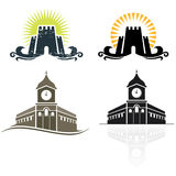 Castle emblem. And city-hall icon Stock Images