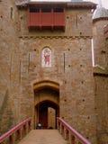 Main entrance to castle stock photos