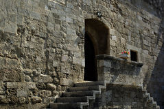Castle Entrance. Medieval castle entrance with two side stairs and poth with flowers at summer sunny Royalty Free Stock Photos