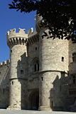 Castle Entrance. Medieval castle entrance with two towers in front at summer sunny day against clear blue sky Stock Images