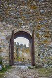 Castle entrance with steel door Royalty Free Stock Photos