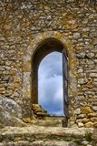 Castle entrance with steel door Stock Photo