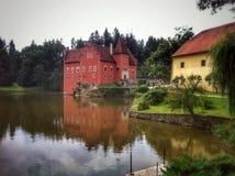 Castle. Červená Lhota Red Castle Reflection in Water Royalty Free Stock Image